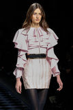 Daniela Aciu walks the runway during the Balmain show Stock Photography