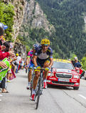 Daniele Bennati Climbing Alpe D'Huez Fotos de Stock Royalty Free