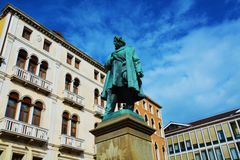 Daniele Manin bronze statue and square, in Venice, Europe Royalty Free Stock Photo
