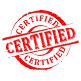 Danificado em volta - certificado - do vetor carimbado vermelho Fotografia de Stock Royalty Free