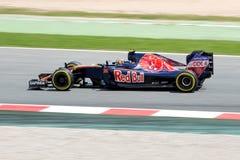 Daniil Kvyat conduce el coche de Scuderia Toro Rosso en la pista para el Fórmula 1 español Grand Prix en Circuit de Catalunya Fotos de archivo libres de regalías