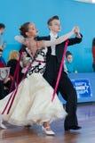 Danilevich Kevin en Dorosh Dariya Perform jeugd-2 Standaardprogramma Royalty-vrije Stock Fotografie