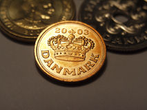 Danish 50 ore. Danish fifty ore coin on dark background stock images