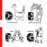 Danish alphabet. Dinosaur, unicorn, frog, wildebeest. Vector letters and characters. Danish alphabet. Dinosaur, unicorn, frog wildebeest Vector letters and Stock Photography