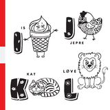 Danish alphabet. Ice cream, hazel grouse, cat, lion. Vector letters and characters Royalty Free Stock Photo