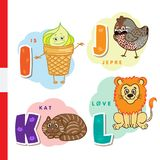 Danish alphabet. Ice cream, hazel grouse, cat, lion. Vector letters and characters. Royalty Free Stock Photo
