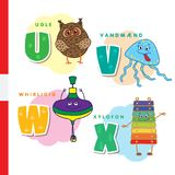 Danish alphabet. Owl, jellyfish, pinwheel, xylophone. Vector letters and characters. Stock Photos