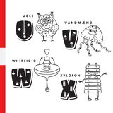 Danish alphabet. Owl, jellyfish, pinwheel, xylophone. Vector letters and characters Stock Photography