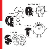 Danish alphabet. Question, sugar, snail, tomato. Vector letters and characters. Stock Photos