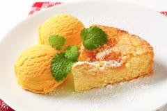 Danish apple cake and ice cream Royalty Free Stock Photo