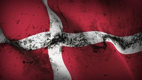 Denmark grunge dirty flag waving on wind. Danish background fullscreen grease flag blowing on wind. Realistic filth fabric texture on windy day Stock Images