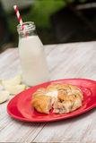 Danish Baked Pastry With Glass of Milk and Apple Royalty Free Stock Image