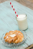 Danish Baked Pastry With Glass of Milk With Straw Royalty Free Stock Photo