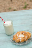 Danish Baked Pastry With Glass of Milk With Straw Vertical Royalty Free Stock Photos