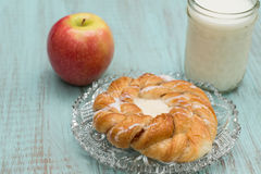 Danish Baked Pastry Milk and Apple Stock Photography