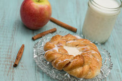 Danish Baked Pastry Milk Apple and Cinnamon Sticks Stock Photo