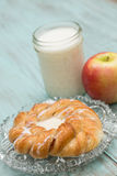 Danish Baked Pastry Milk and Apple Vertical Stock Photo