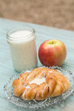 Danish Baked Pastry Milk and Fresh Apple Vertical Royalty Free Stock Photo