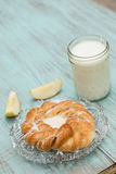 Danish Baked Pastry Milk and Fresh Apple Vertical Royalty Free Stock Photography