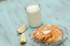 Danish Baked Pastry Milk and Fresh Cut Apple Royalty Free Stock Photo