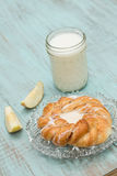 Danish Baked Pastry Milk and Fresh Cut Apple Vertical Stock Images