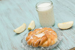 Danish Baked Pastry Milk and Fresh Sliced Apple Stock Photography