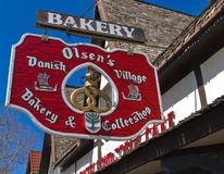 Danish bakery, Solvang. Olsen's Danish Bakery & Coffeeshop is one of many Scandinavian style shops in the Danish Village of Solvang, California Stock Image
