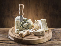 Danish blue cheese. Vintage stiles. Stock Photo