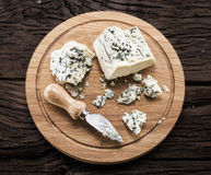Danish blue cheese. Vintage stiles. Royalty Free Stock Image