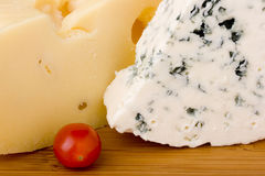 Danish Blue Cheese With Swiss Cheese Slice Stock Photography