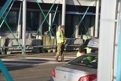 DANISH BORDER CONTROL DENMARK-GERMANY. RODBY /Denmark 17.November 2018. Danish border police checking passport at border control at Rodby between Denmark and stock image