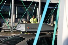 DANISH BORDER CONTROL DENMARK-GERMANY. RODBY /Denmark 17.November 2018. Danish border police checking passport at border control at Rodby between Denmark and stock photography