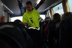 DANISH BORDER CONTROL DENMARK-GERMANY. RODBY /Denmark 17.November 2018. Danish border police checking passport at border control at Rodby between Denmark and royalty free stock photography