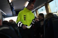 DANISH BORDER CONTROL DENMARK-GERMANY. RODBY /Denmark 17.November 2018. Danish border police checking passport at border control at Rodby between Denmark and stock photo
