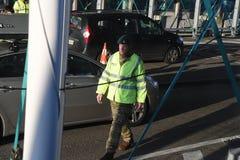 DANISH BORDER CONTROL DENMARK-GERMANY. RODBY /Denmark 17.November 2018. Danish border police checking passport at border control at Rodby between Denmark and stock photos