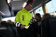 DANISH BORDER CONTROL DENMARK-GERMANY. RODBY /Denmark 17.November 2018. Danish border police checking passport at border control at Rodby between Denmark and royalty free stock photo