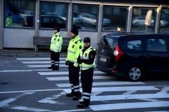 DANISH BORDER CONTROL DENMARK-GERMANY. RODBY /Denmark 17.November 2018. Danish border police checking passport at border control at Rodby between Denmark and stock images