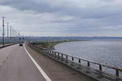 The Danish border in the Oresund crossing. ORESUND, DENMARK - JUNE 29, 2016: This is the road from the Swedish Oresund Bridge to island Poberholm, which is royalty free stock photo