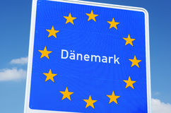 Danish Border. Photo with Danish border sign stock photos