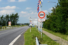 Danish Border. Photo with Danish border sign stock images