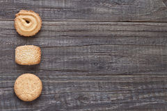 Danish butter biscuits. Danish butter cookies on a wooden background Stock Photo
