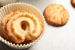 Danish butter cookies on grey table, closeup. Space for text stock photography