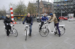 DANISH CAPITAL CITY OF BIKERS. Copenhagen_Denmark _10 .April 2017_ Travelers and tourists bike in Danish capital city Copenhagen city of bikers   Photo. Francis Royalty Free Stock Photography
