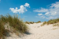 Danish coast. View from the beach at Nymindegab beach in Denmark Royalty Free Stock Image