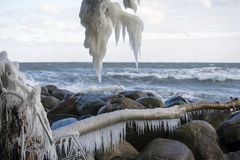 Danish coastline winter landscape with icicles. royalty free stock photo