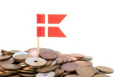 Danish coins with flag Royalty Free Stock Photo