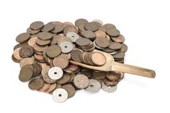 Danish coins with a spoon Royalty Free Stock Photo