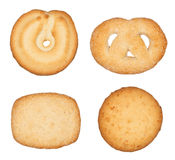 Danish Cookies. Four different Danish cookies isolated on white Stock Photos