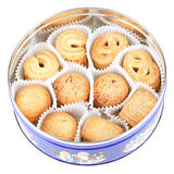 Danish Cookies in round box Royalty Free Stock Image