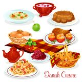 Danish cuisine dishes for menu design. Danish cuisine food for lunch menu design. Salmon fish pasta, chicken with stuffed tomato, red cabbage salad, rice pudding Royalty Free Stock Image
